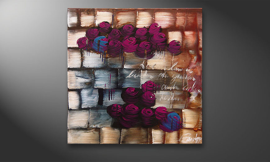 Clouds of Roses 80x80x2cm Tableau