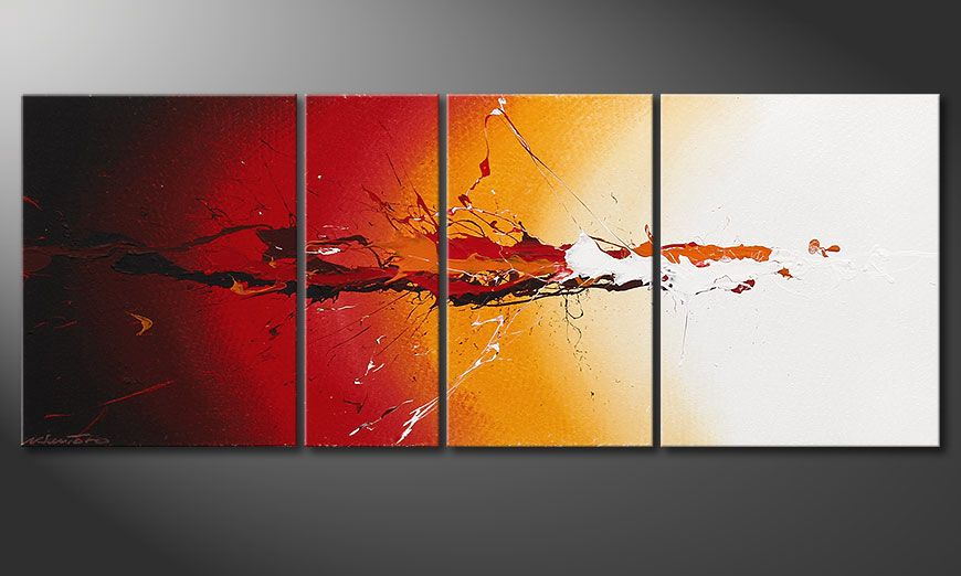 La peinture 100% faite main Fiery Splash 130x50x2cm