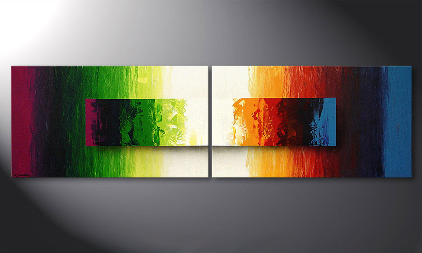 La peinture moderne Battle of Colours 200x60x2cm