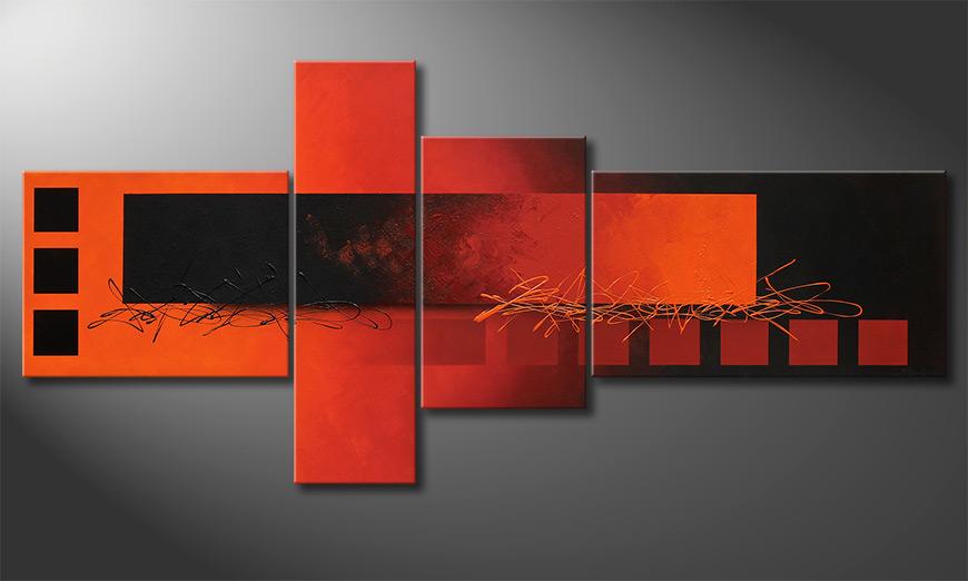 La toile XXL Fiery Emotions 220x100x2cm