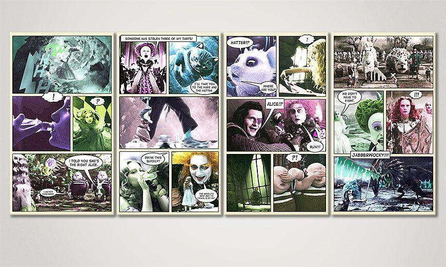Le tableau Alice au Pays des Merveilles 160x70x2cm
