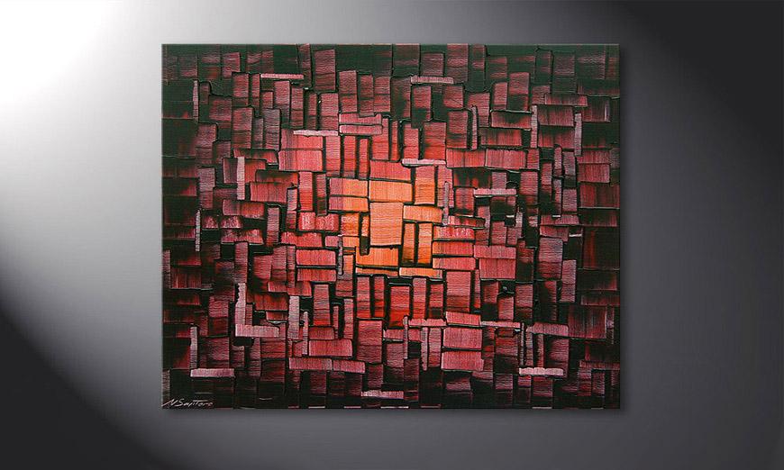 Le tableau mural Cubes of Glow 100x80x2cm