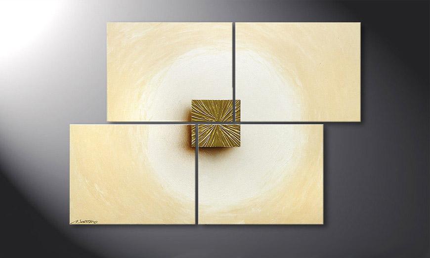 Le tableau mural Golden Cube 115x80x2cm