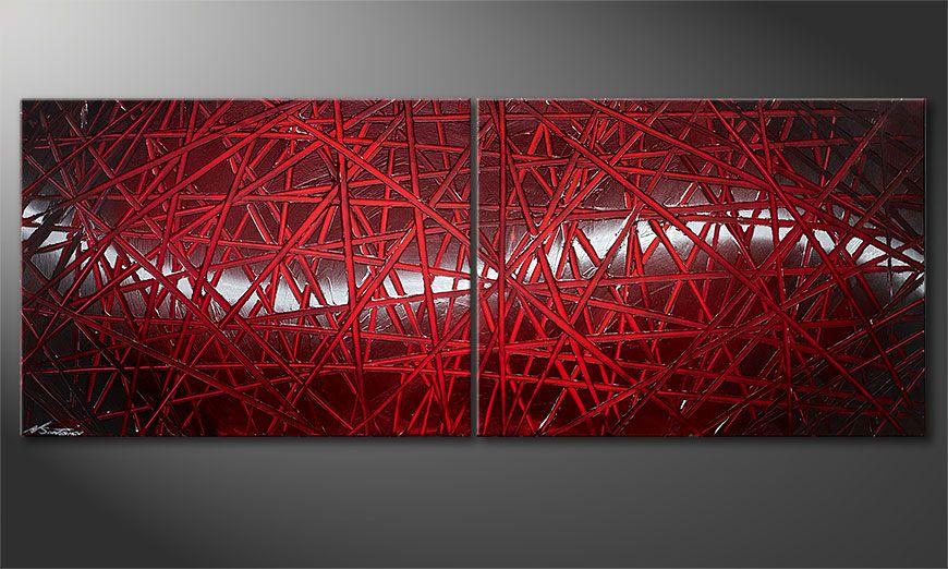 Le tableau mural Red Push 160x60x2cm