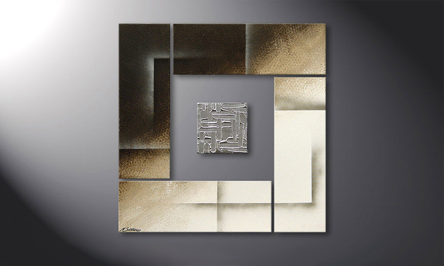 Le tableau mural Silver Cube 80x80x2cm