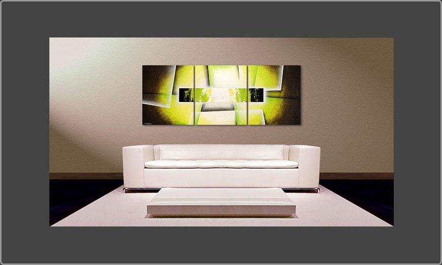 Le tableau pour salon broken green 180x70cm tableaux xxl for Tableau original pour salon