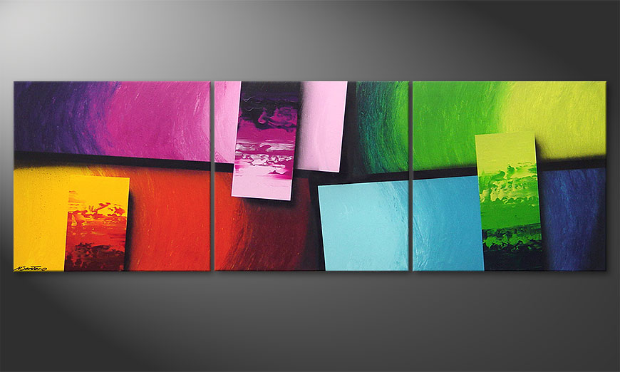 Le tableau pour salon Squaring of Colors 210x70x2cm