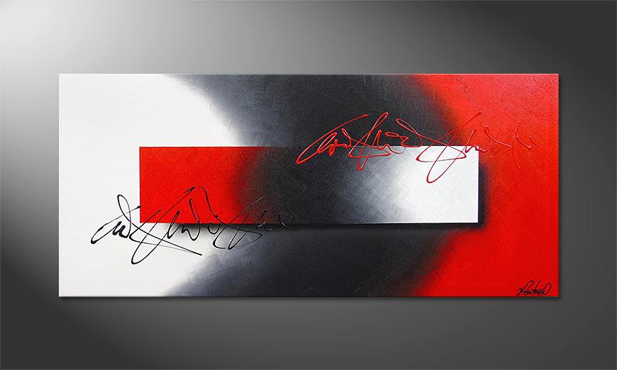 La peinture 100% fait main Battle of Contrast 150x70x2cm