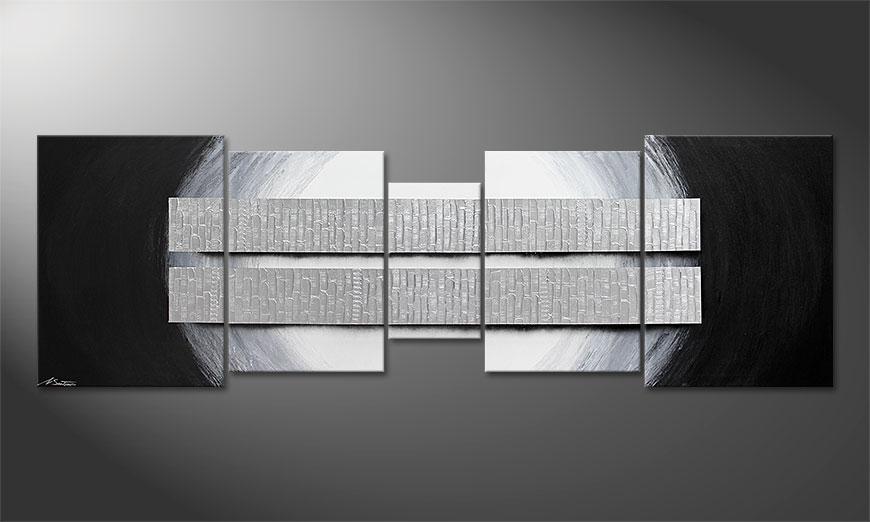 La toile XXL Blocs of Silver 250x80x2cm