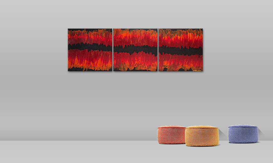 Le tableau mural Split Red 180x60cm