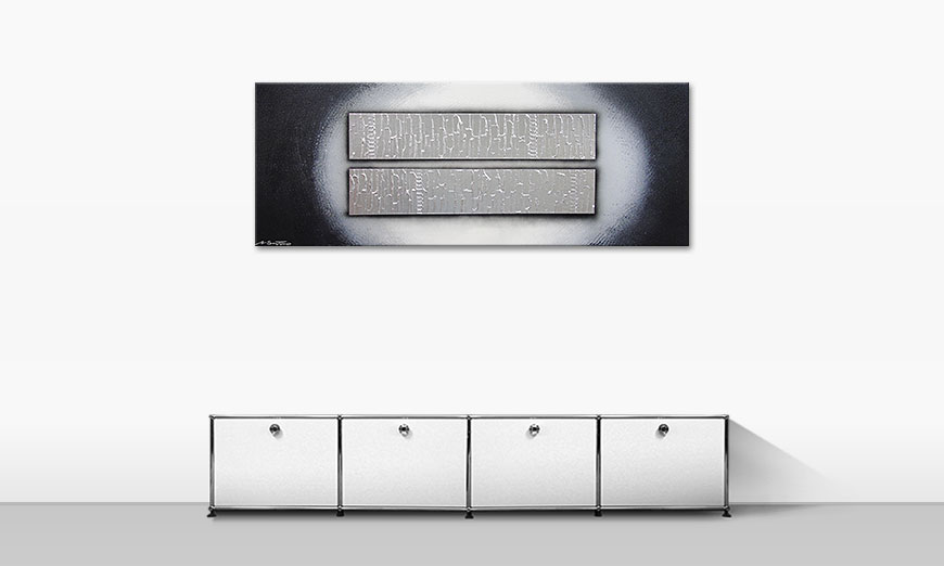 Le tableau mural Blocks of Silver 150x60cm