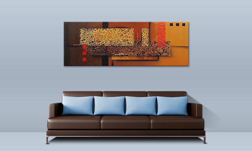 Le tableau mural Liquid Gold 150x55cm