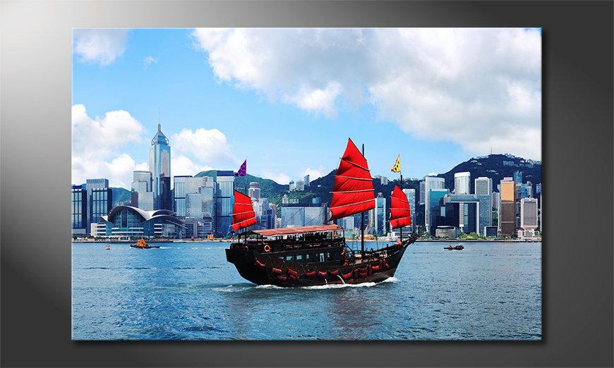 Le tableau imprimé Hongkong Boat