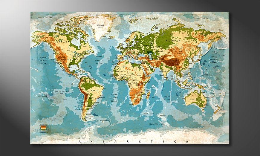 Le tableau mural Used Worldmap