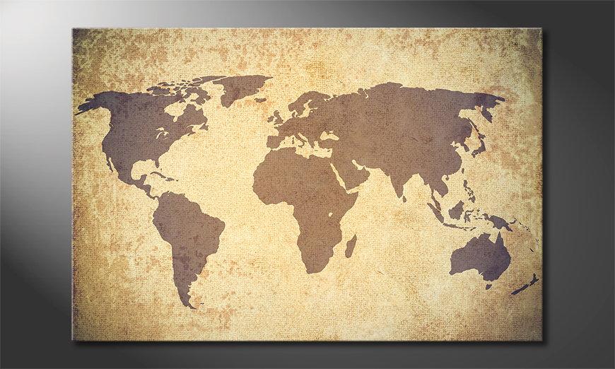 Le tableau mural Worldmap Vintage