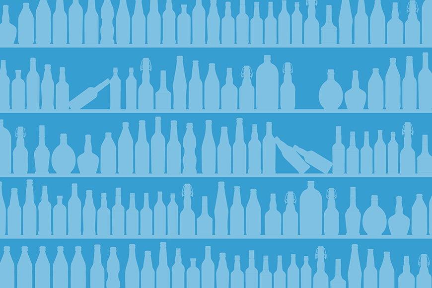Papier intissé Blue Bottles 120x80cm et plus