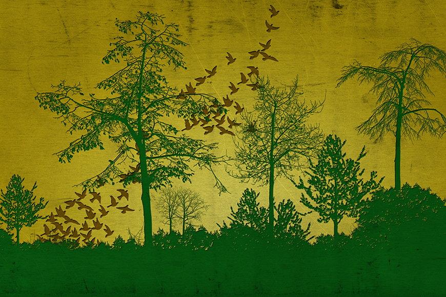 Papier intissé Forêt et plaine 120x80cm et plus