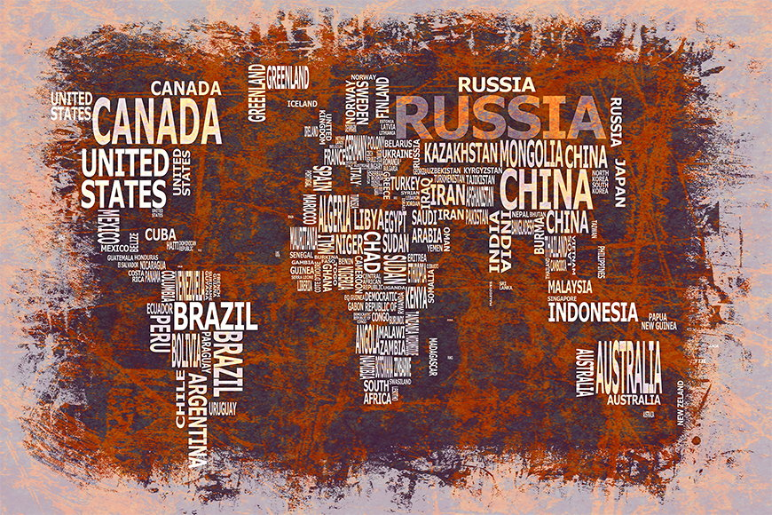 Papier peint Carte du Monde 19 120x80cm et plus