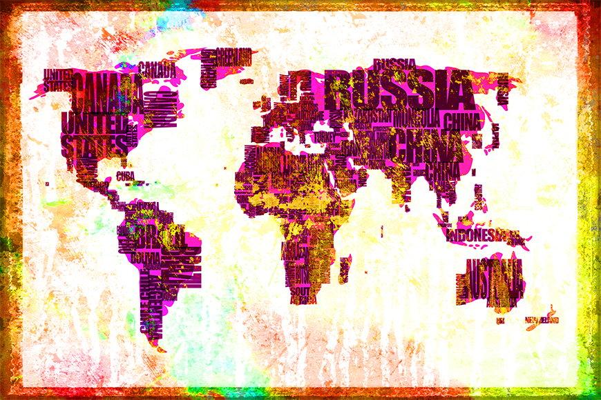 Papier peint Carte du Monde 3 120x80cm et plus