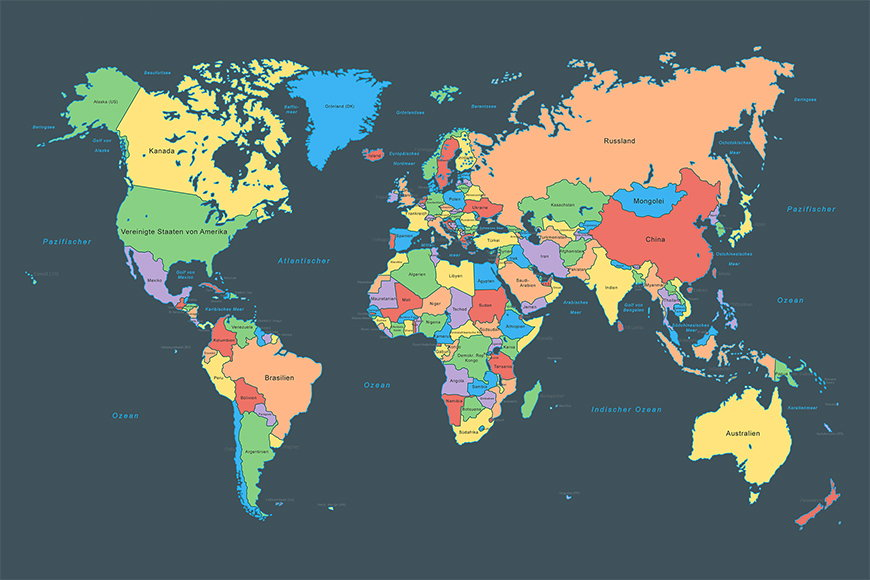 Papier peint Colorful Map 120x80cm et plus