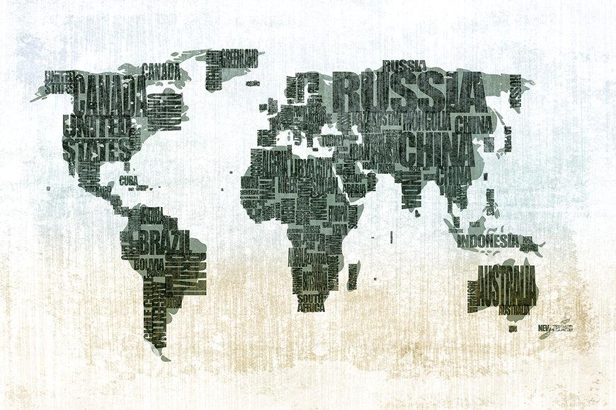 Papier peint Le Carte du Monde 120x80cm et plus