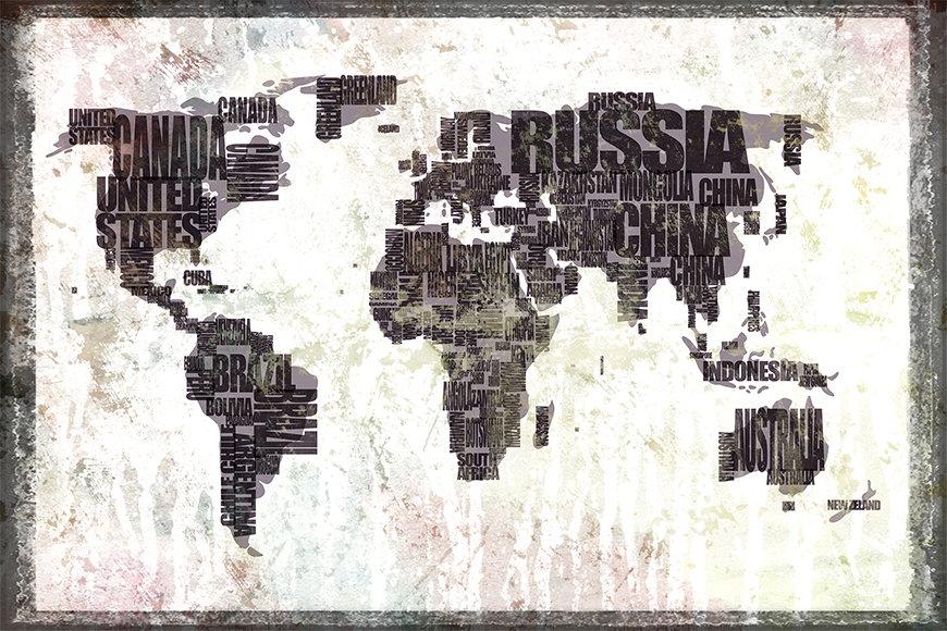 Papier peint Le Carte du Monde 17 120x80cm et plus