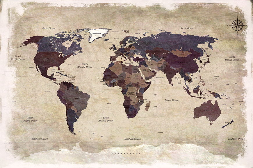 Papier peint Old Worldmap 3 120x80cm et plus